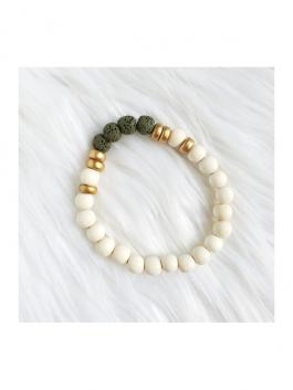 Olive Green Lava Stone Bracelet