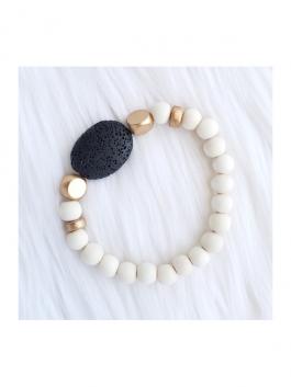 Black Oval Lava Stone Bracelet